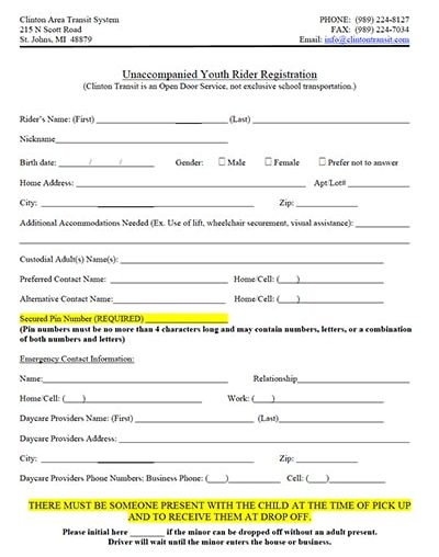 youth rider form